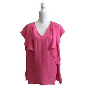 RACHEL ROY womens pink sleeveless ruffle top shirt